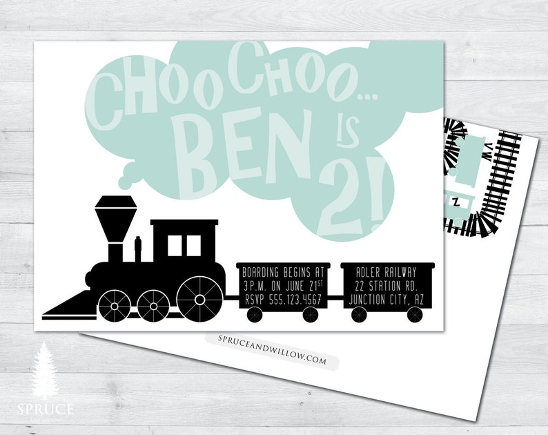 Alphabet Train Birthday Invitation Abc