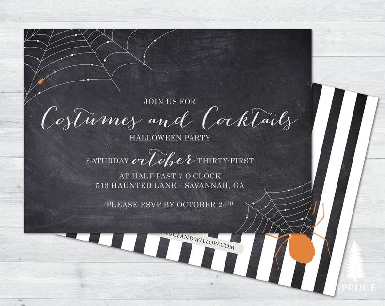 costumes and cocktails halloween party invitation costume image 0