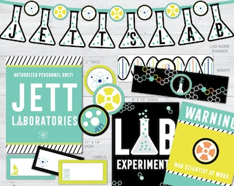 science party printables, science party decorations, science birthday party supplies, science birthday party banner, mad science party