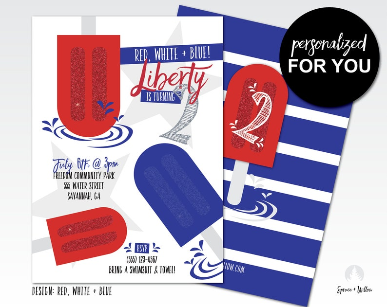 red white and blue birthday invitation red white and two image 0