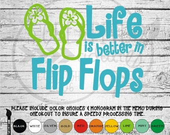 759091e8c17e Life Is Better In Flip Flops - Vinyl Decal Sticker - Available in variety  of sizes and colors