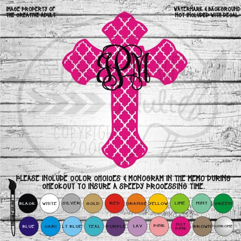 Quatrefoil Cross Monogram Decal - Available in variety of sizes and colors  mgm33