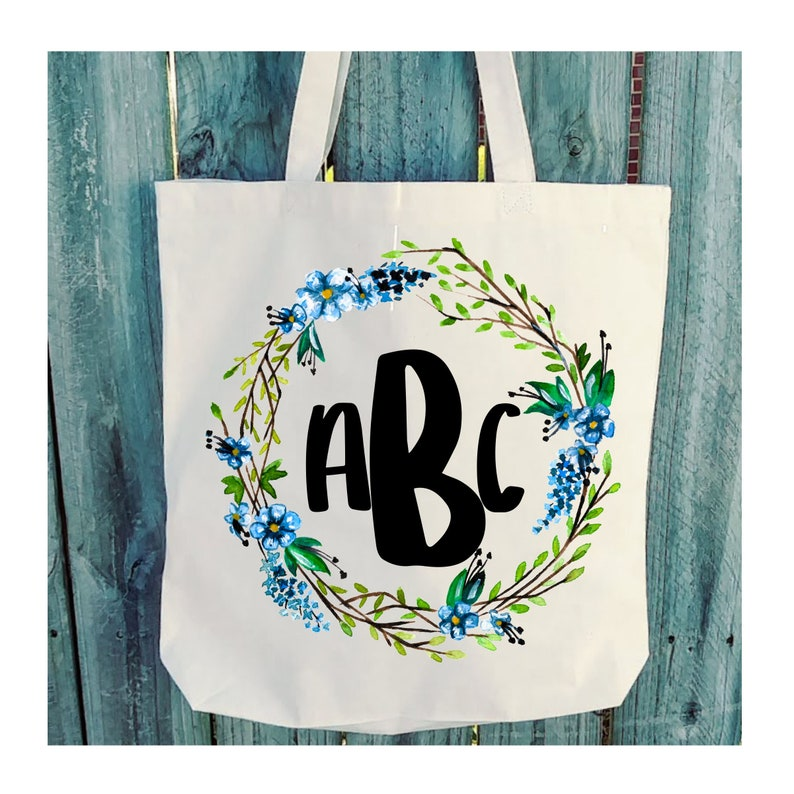 Flower Bouquet Floral Wreath Monogram Custom Personalized wb248 Canvas Tote 6oz Light Weight Natural Canvas
