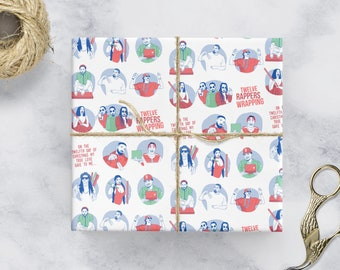 12 Days of Christmas Rapping / Wrapping Paper (Kanye West, Cardi B, Drake, Kendrick, Nicki Minaj, Migos, 2 Chainz) A2 Gift Wrap (420x594mm)