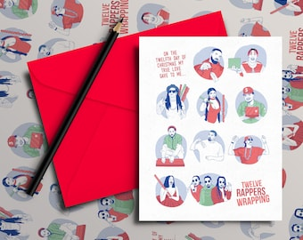 Rappers Wrapping - 12 Days of Christmas Card (Hip Hop / Rap Xmas Cards)