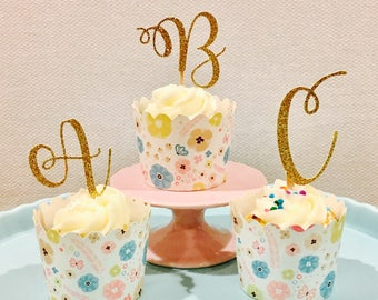 number one babyshower gold pink glitter numbers personalized cake topper J&C Home, Furniture & DIY