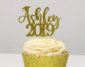 489ab666857 12ct 2019 Personalize grad name cupcake toppers