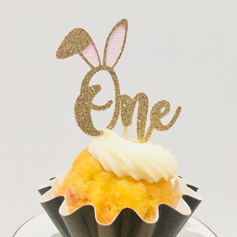 First birthday Cupcake topper bunny 1 cupcake top 12ct bunny One cupcake topper some bunny is one party decoration birthday bunny topper
