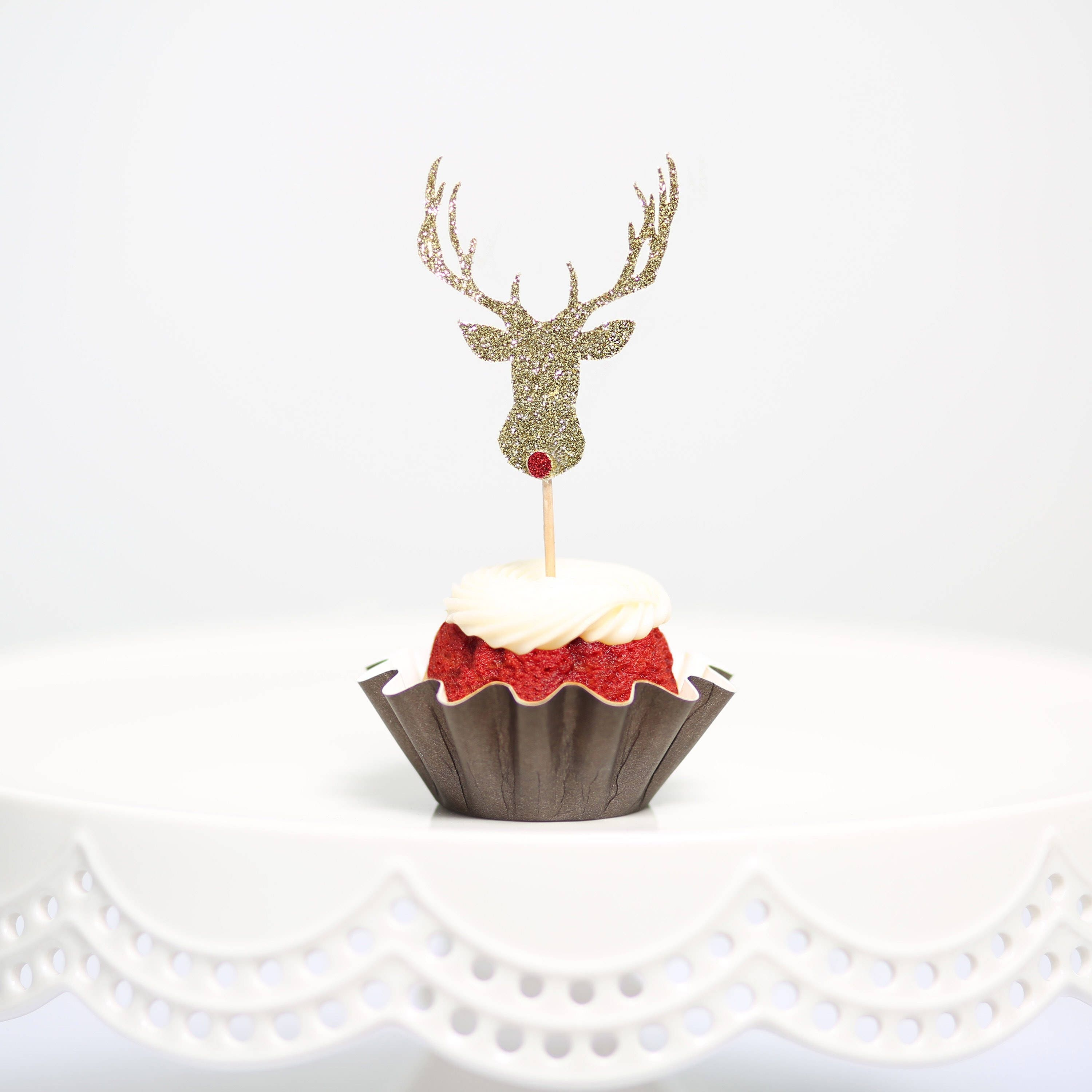 12pc christmas cupcake toppers rudolph red nose cupcake   Etsy