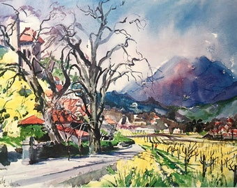 """Vintage watercolor print """"Spring in Napa Valley"""" by Cecile Johnson. This wonderful vintage art print of the wine country is 11.5 x 15.75""""."""