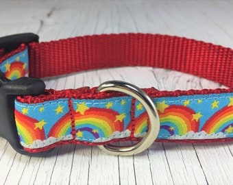 """Rainbow Stars and Clouds 1"""" wide Dog Collar"""