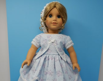 """Adorable """"Little Women"""" Inspired, Mid-1860s Day Dress with Snood, Hoop Skirt and Pantaloons.  Fits 18 inch dolls such as American Girl. OOAK"""