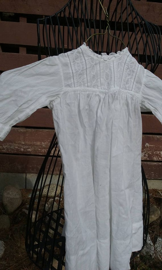 Edwardian Baby White Cotton Gown - Bodice with Dia