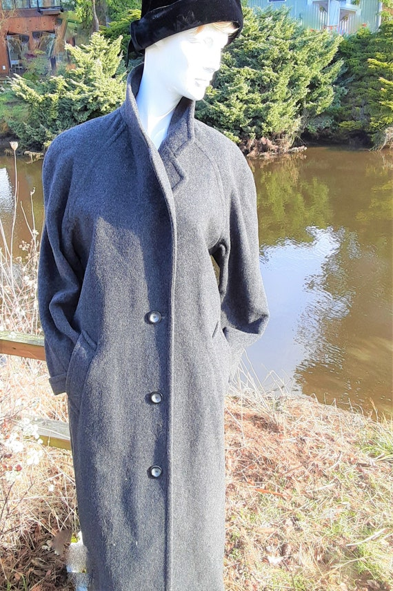 Lands End Gray Wool Single Breasted Top Coat -  Si