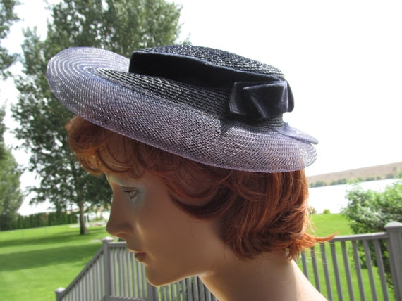 1940s Portrait Hat Navy Straw and Organza