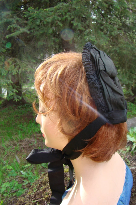 Victorian Black Crepe Mourning Bonnet with Ruched