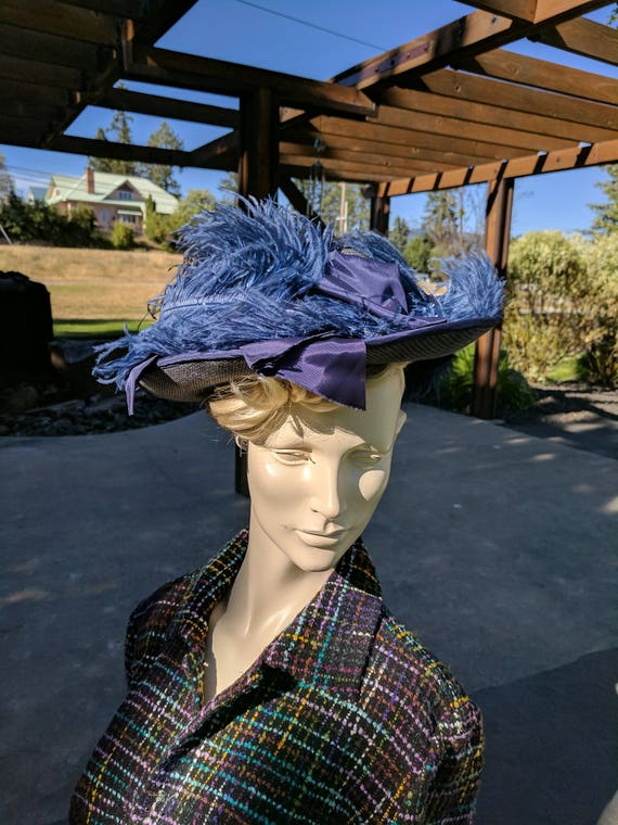 Edwardian Blue Linen Hat with Ostrich Feathers