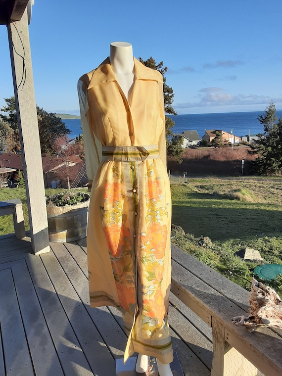 1960s Shaheen Label Yellow Floral Hostess Gown - S