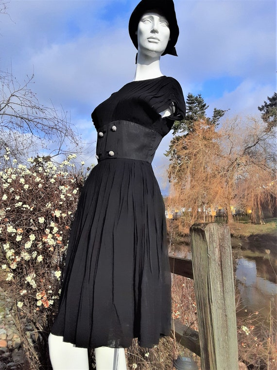 1950s Black Chiffon Sleeveless Dress - Label Symph