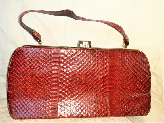 1930s Small Red Snakeskin  Purse