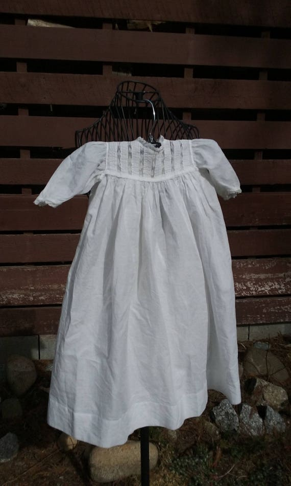 Edwardian Baby White Cotton Gown - Vertical Pintuc