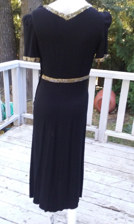 1930s Black Crepe Bias Cut  Evening  Dress
