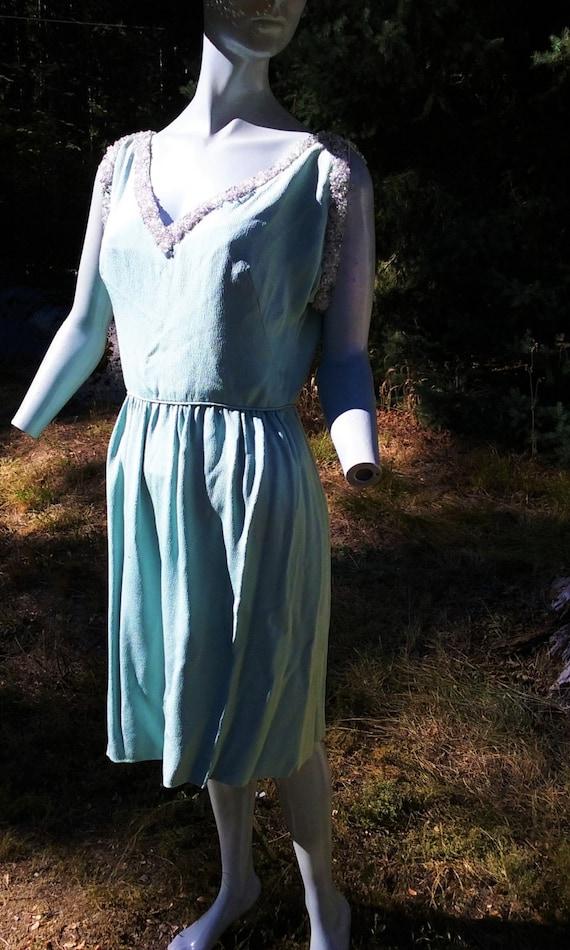 1930s Pale Acqua Sleeveless Crepe Dress - Size 6