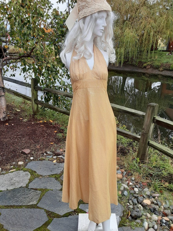 1960s Gold Lame Empire Waist Halter Dress  Size 4