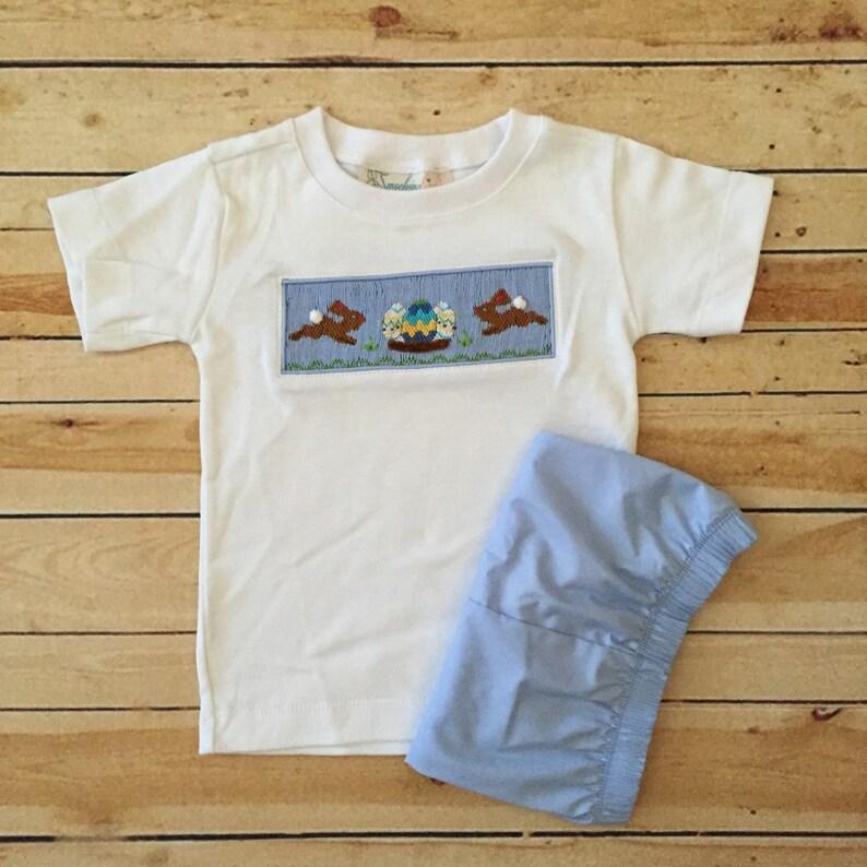 6c55af02f SALE Smocked Chocolate Easter Bunnies Boys Short Set | Etsy