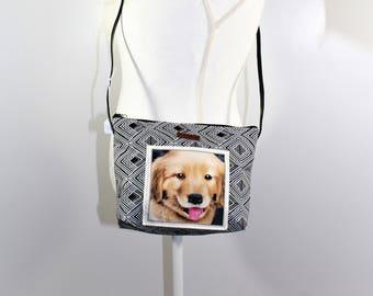 Golden Retriever poppy cross body leather strap bag