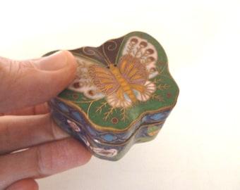 Vintage Enamel Butterfly Box