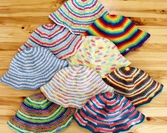 Striped Crochet Bucket Hats