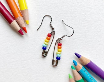 LGBTQ+ Pride Flag Safety Pin Earrings - Custom