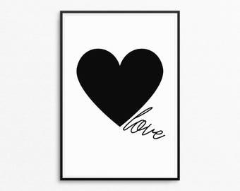 Black and white heart printable, Love Printable Poster, Heart print with Love quote, Love printable wall art, Digital Download
