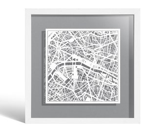 Paris Paper Cut Map Framed, White map, White Frame, 9x9 inches, Gift Boxed, 4 Background Color, self-Changing, Paper Art
