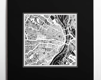 Paper cut map St. Louis, MO, matted 20×20 In. color alternative, Paper Art  IDEAL GIFTS