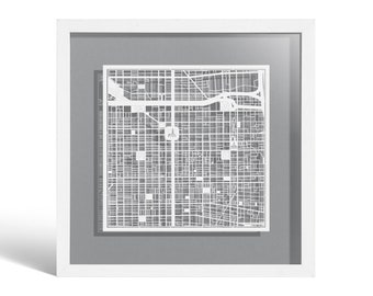 Philadelphia Paper Cut Map Framed, White map, White Frame, 9x9 inches, Gift Boxed, 4 Background Color, self-Changing, Paper Art