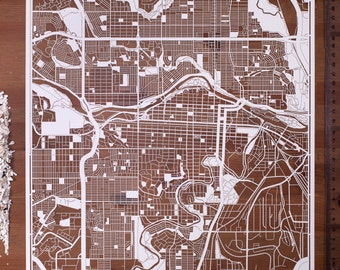 Paper cut map Calgary, 12×12 In. Paper Art  IDEAL GIFTS