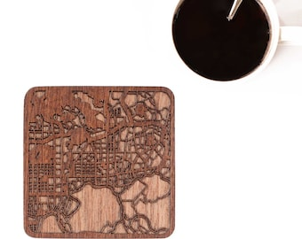 Shenzhen map coaster, One piece, Sapele wooden coaster with city map, Multiple city optional, IDEAL GIFTS