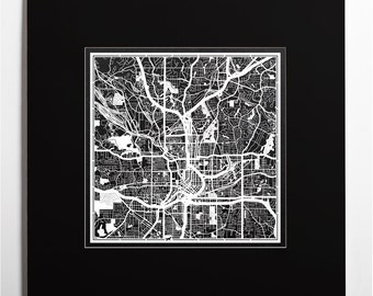 Paper cut map Atlanta, matted 20×20 In. color alternative, Paper Art  IDEAL GIFTS