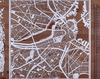 Paper cut map  Boston, 12×12 In. Paper Art IDEAL GIFTS