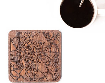 Oxford, England map coaster, One piece, Sapele wooden coaster with city map, Multiple city optional, IDEAL GIFTS