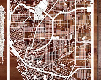 Buffalo, Long Island, Paper cut map12×12 In. Paper Art  IDEAL GIFTS