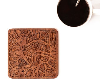 London map coaster, One piece, Sapele wooden coaster with city map, Multiple city optional, IDEAL GIFTS
