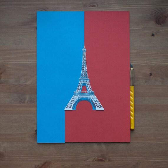 Eiffel Tower paper-cut Paper Art Original Design IDEAL GIFTS A4