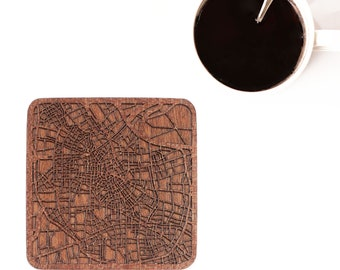 Tianjin map coaster, One piece, Sapele wooden coaster with city map, Multiple city optional, IDEAL GIFTS