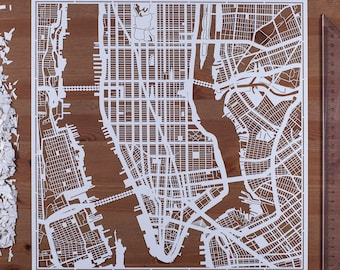 Paper cut map Manhattan, NY. 12×12 In. Paper Art  IDEAL GIFTS
