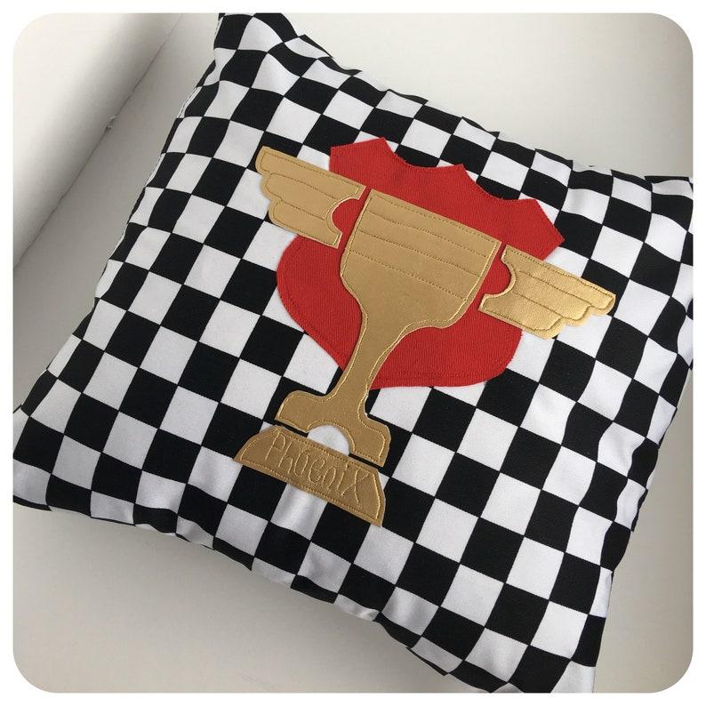 Personalised piston cup cushion - cars cushion - racing car cushion