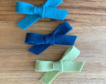 Mini Felt Bows/Hand-Tied/Baby/Newborn/Photo Prop/Toddler/Accessory/Hairbow/Piggie Set/Pigtails