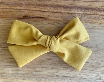 Curry Yellow Hand-Tied Bow, Curry Yellow, Headband, Bow, Toddler, Baby, Newborn, Photo Prop, Accessory, Alligator Clip, Hairbow, Capsule